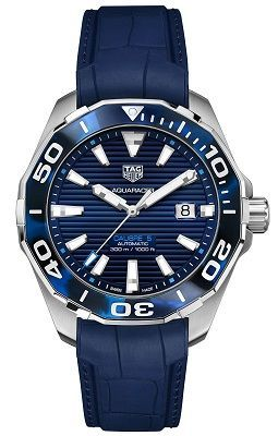 TAG Heuer Aquaracer 43MM Blue Dial on Rubber Strap, WAY201P.FT6178
