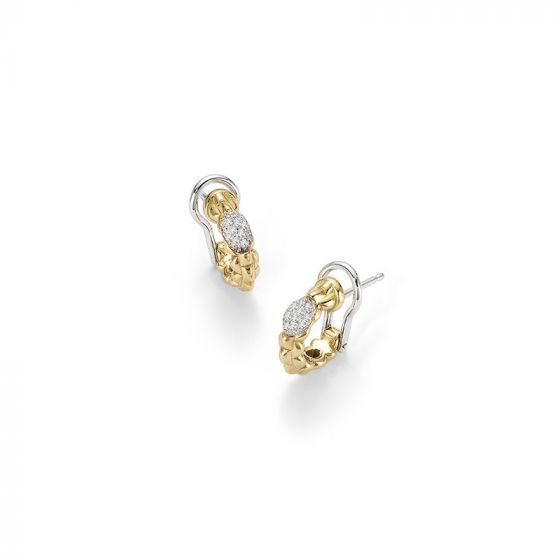 Fope diamond earrings, clip and post, 18ct yellow and white, OR730 PAVE