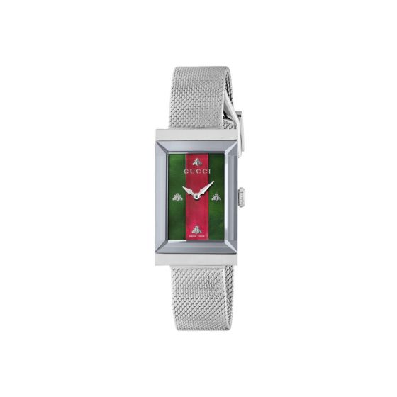 Gucci G Frame steel casing and bracelet with Gucci strip dial quartz movement., YA147401