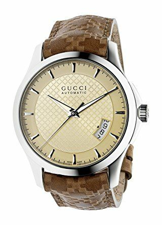 GUCCI G Timeless Auto Ivory Dial Brown Calf Strap 40MM, YA126421